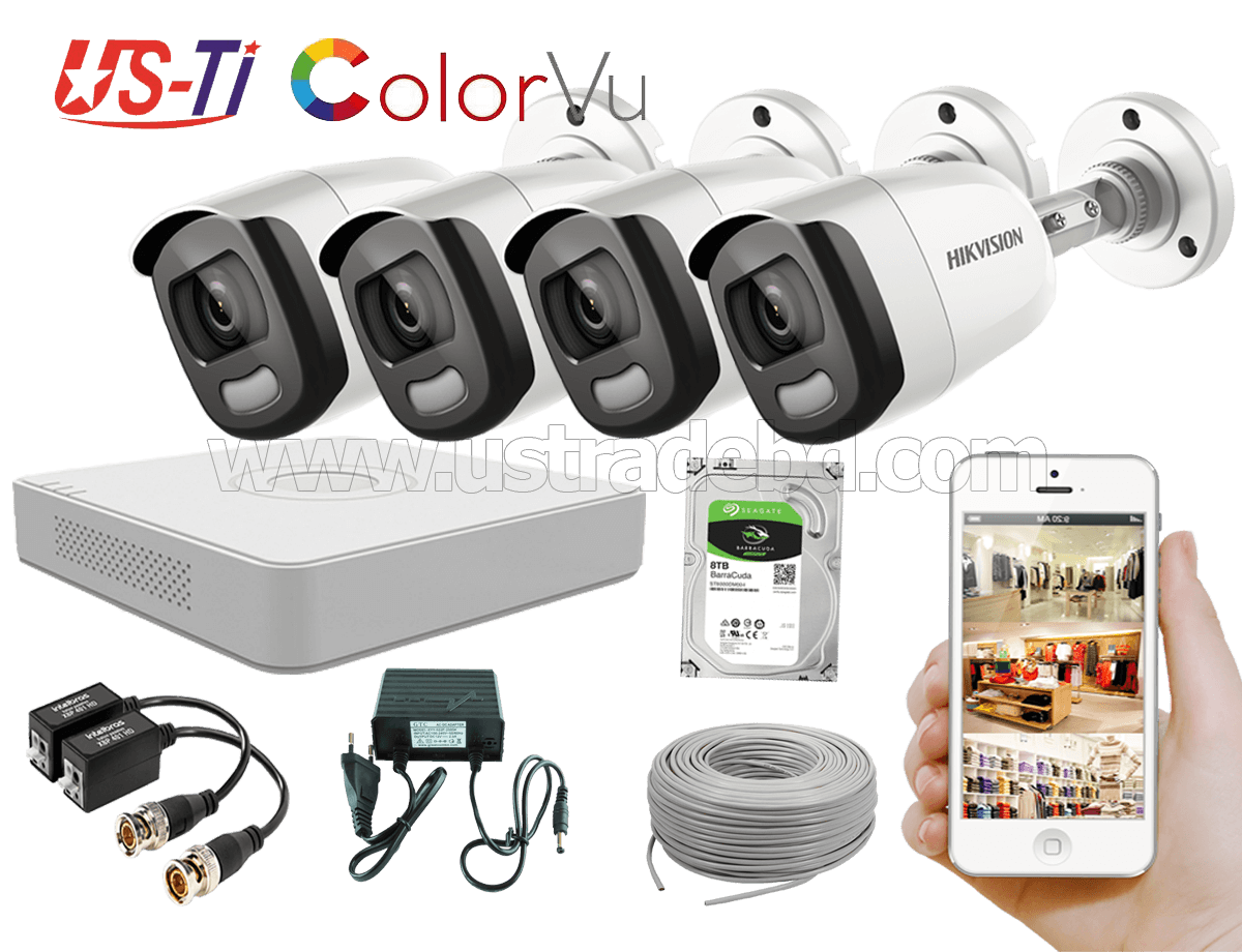 24 Hours Colour Hikvision 4pc camera Package