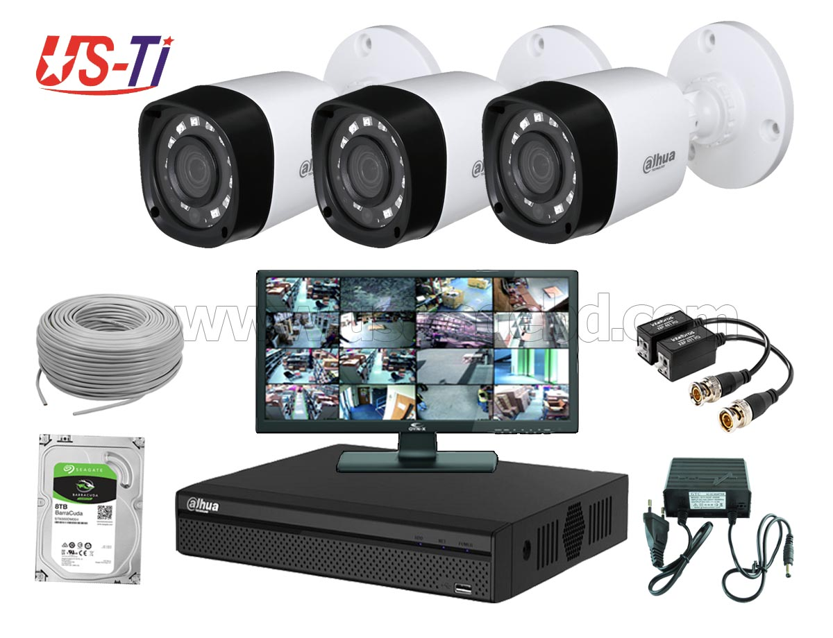2MP Dahua 3 Unit  camera CCTV Package with Monitor