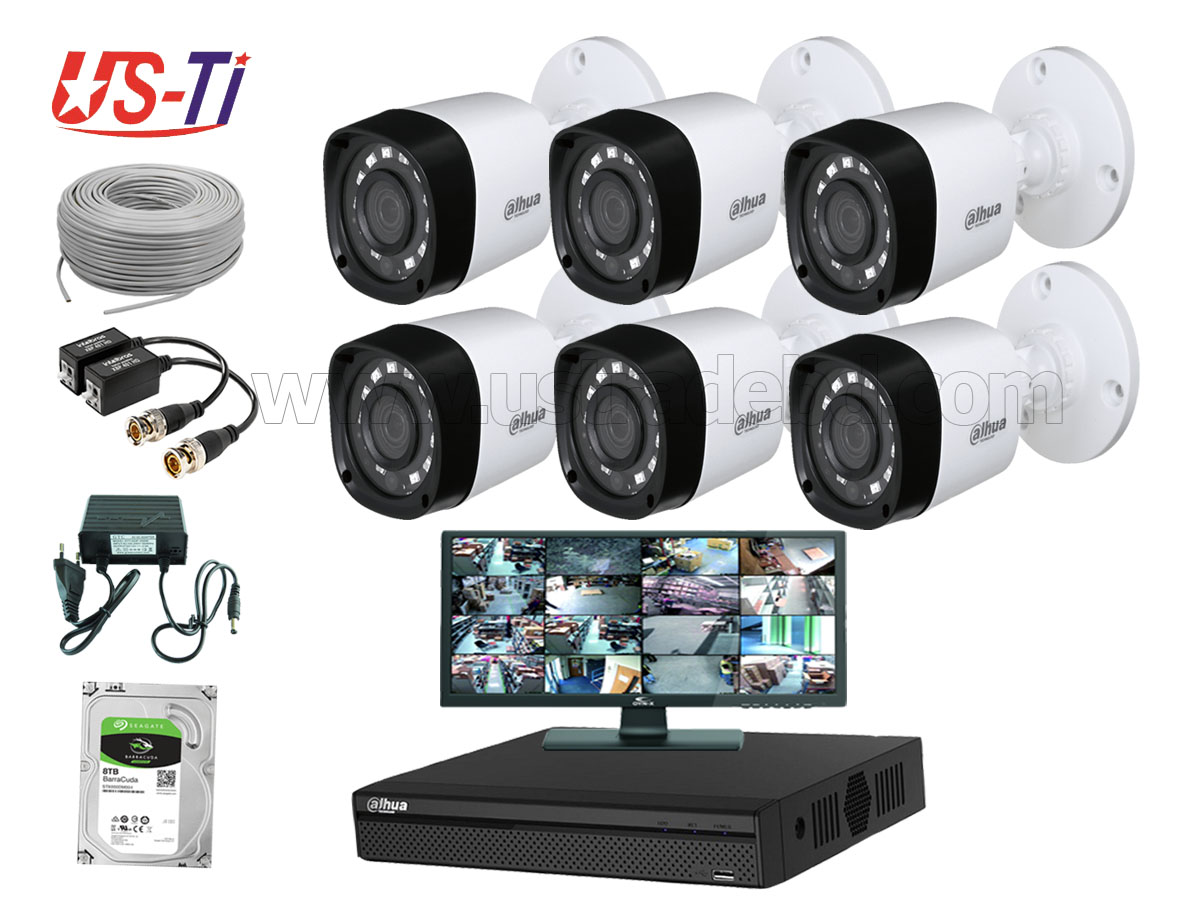 2MP Dahua 6 Unit camera CCTV Package with Monitor