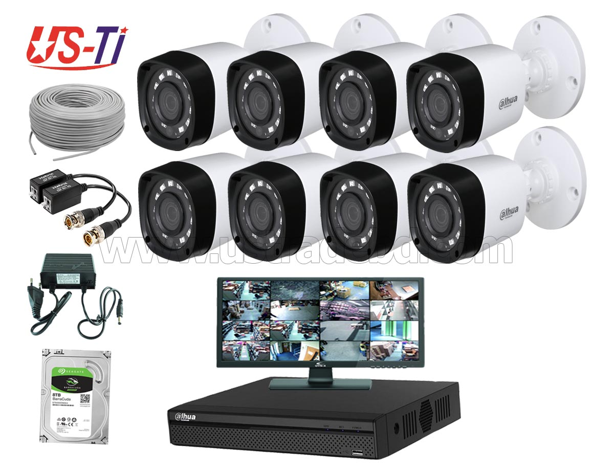 2MP Dahua 8pc camera CCTV Package with Monitor