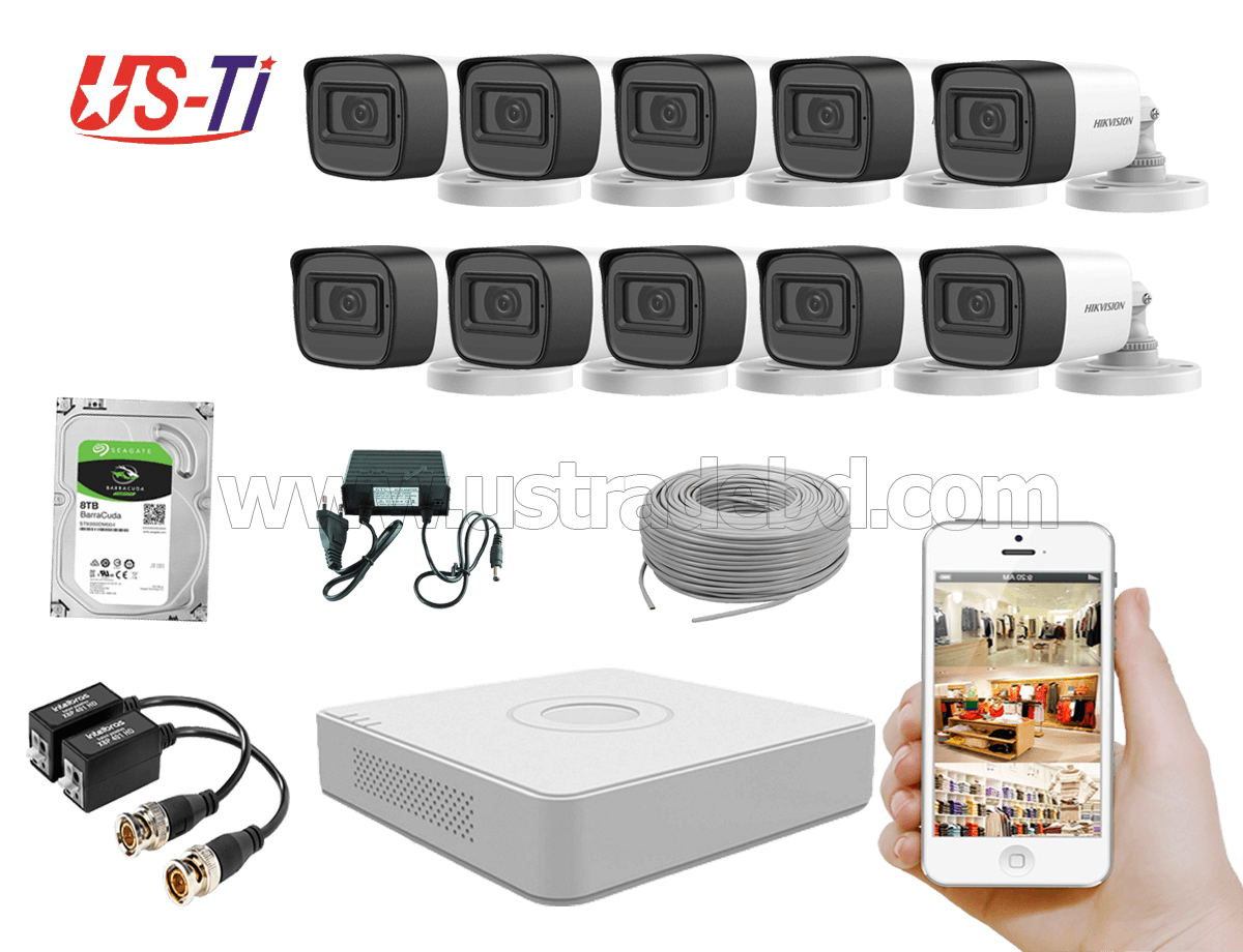 2MP Hikvision 10 Full HD Audio camera CCTV Package