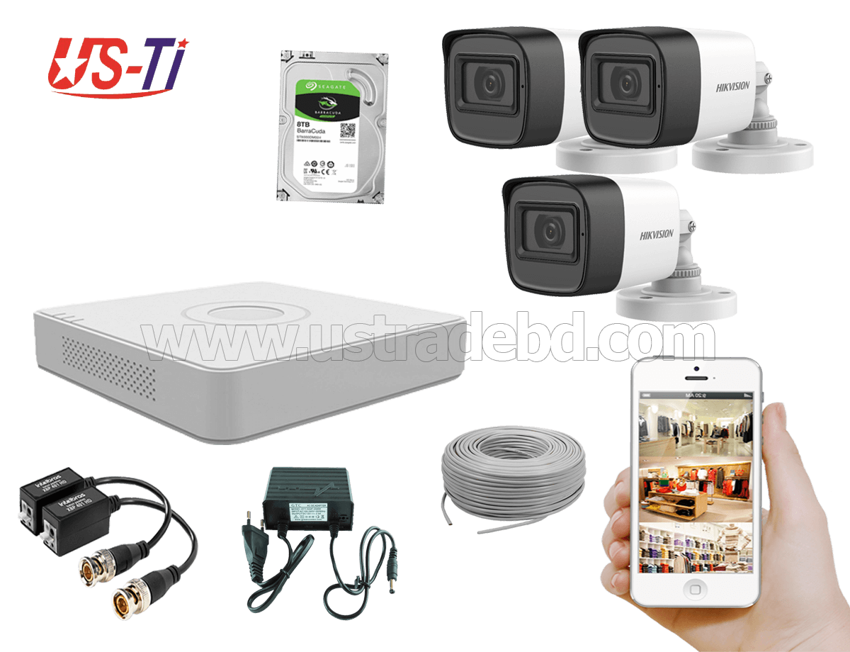 2MP Hikvision 3 Full HD Audio camera CCTV Package
