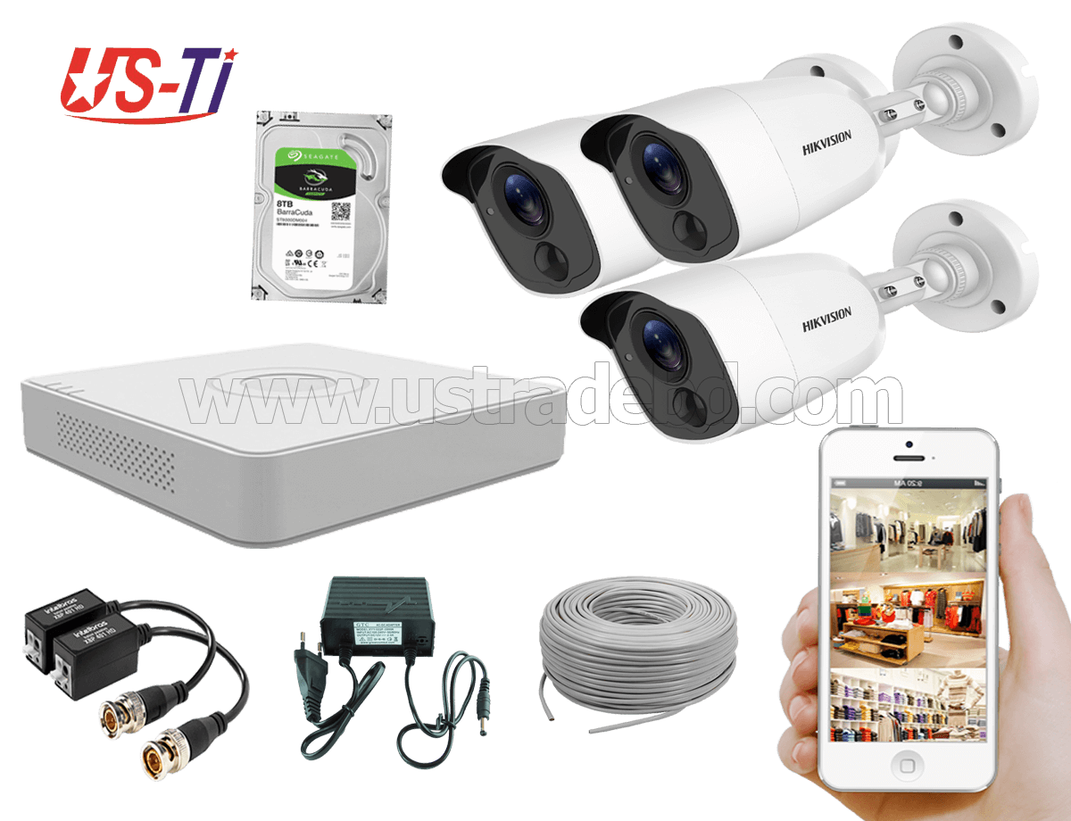 2MP Hikvision 3 Full HD Flash detection camera  CCTV Package