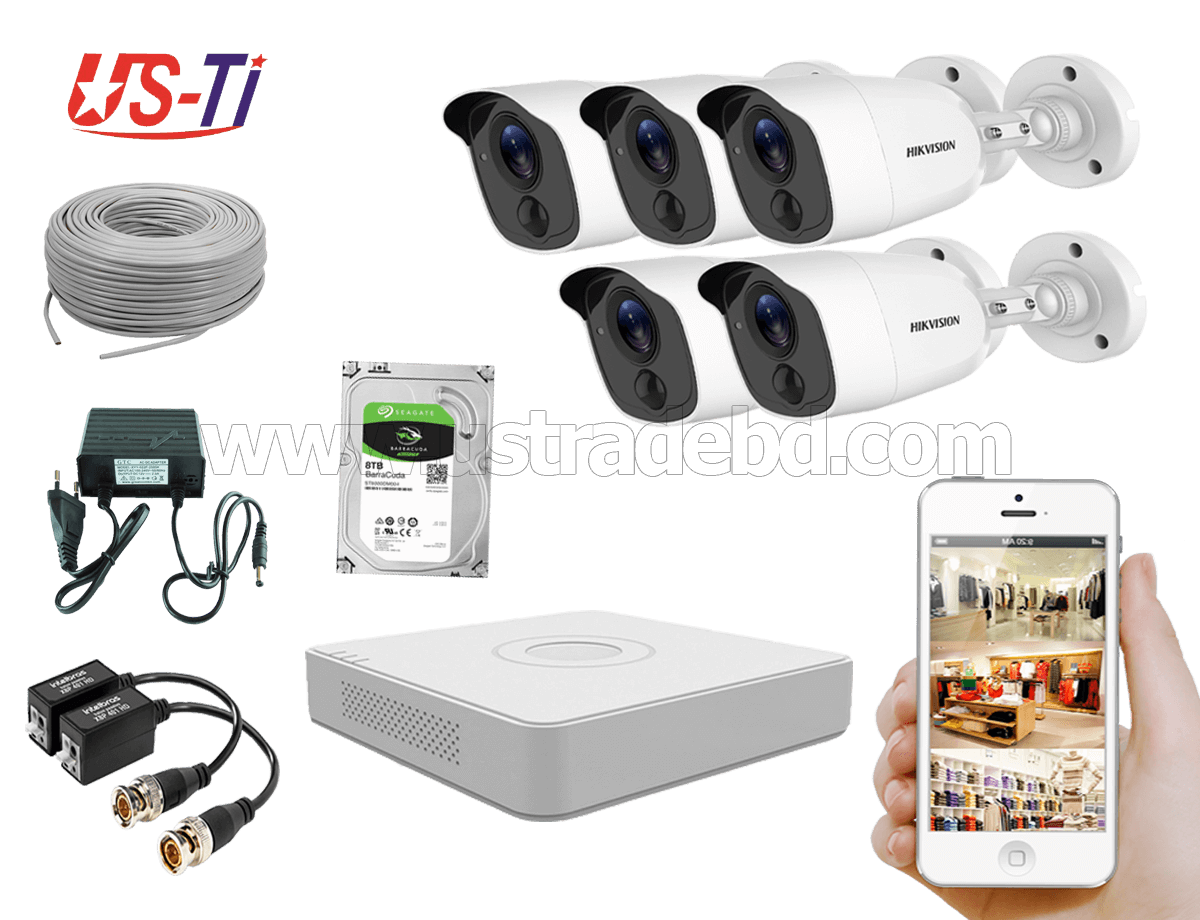 2MP Hikvision 5 Full HD Flash detection camera  CCTV Package