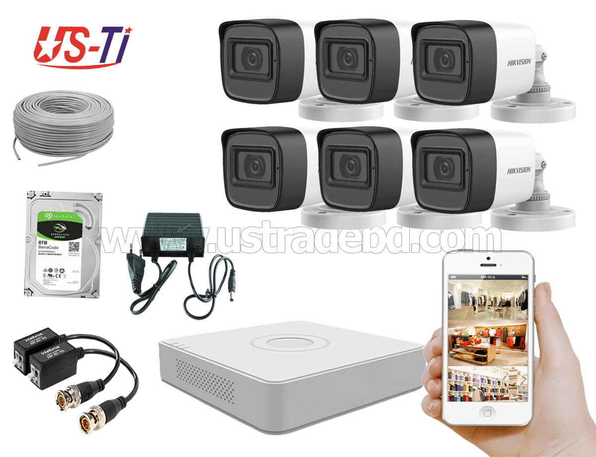 2MP Hikvision 6 Full HD Audio camera CCTV Package