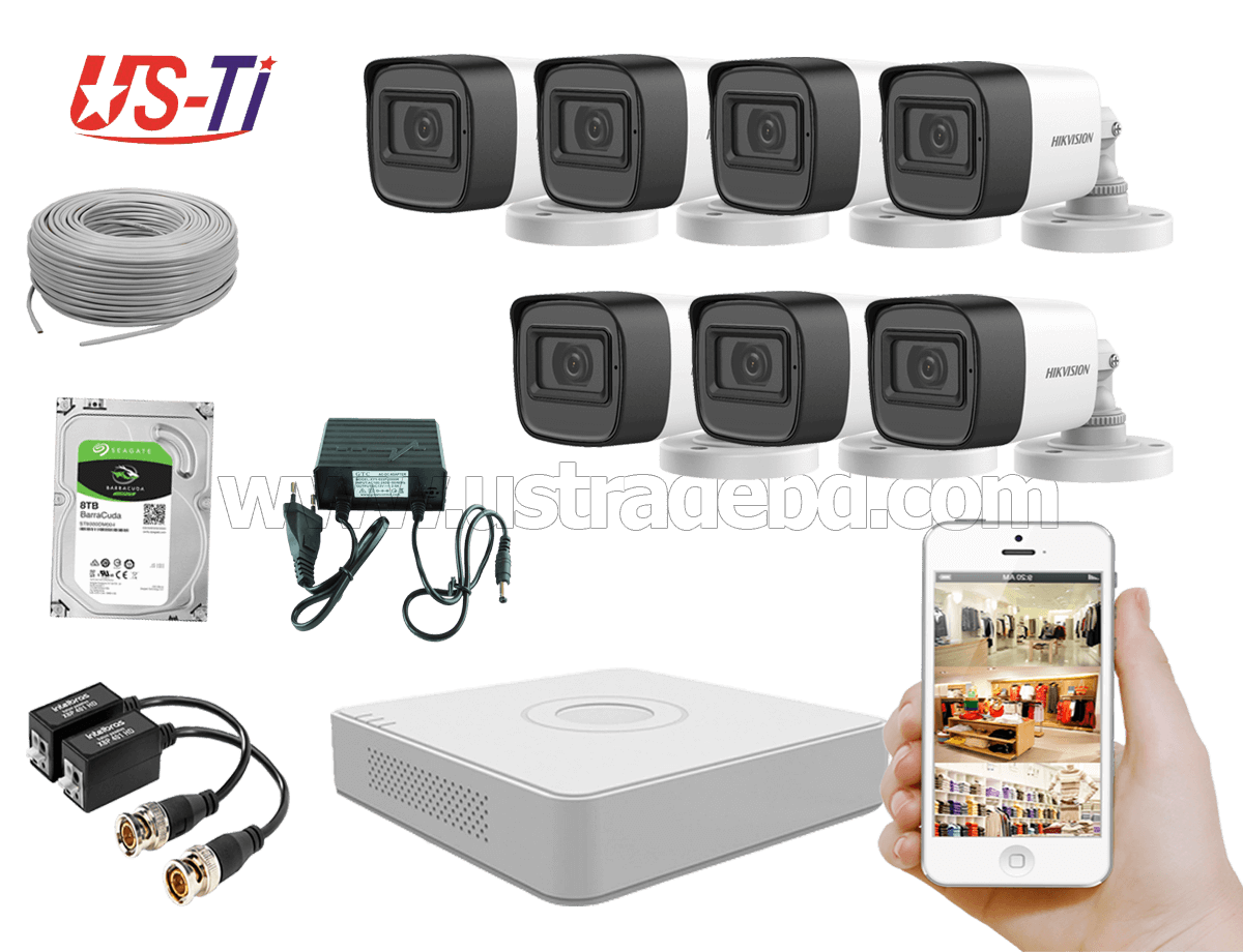 2MP Hikvision 7 Full HD Audio camera CCTV Package