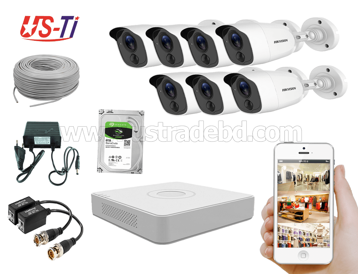 2MP Hikvision 7 Full HD Flash detection camera CCTV Package
