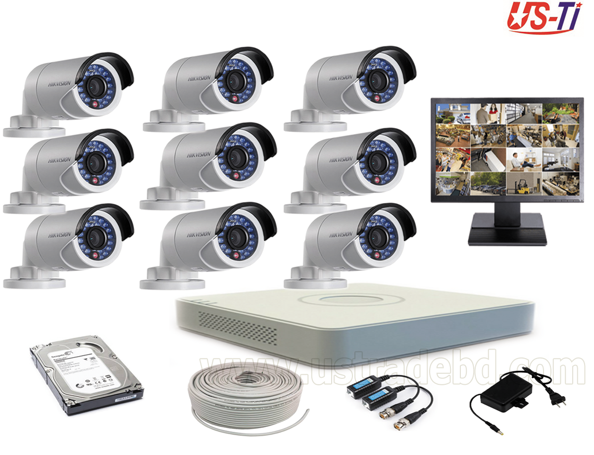 2MP Hikvision 9 Full HD CCTV Package With Monitor