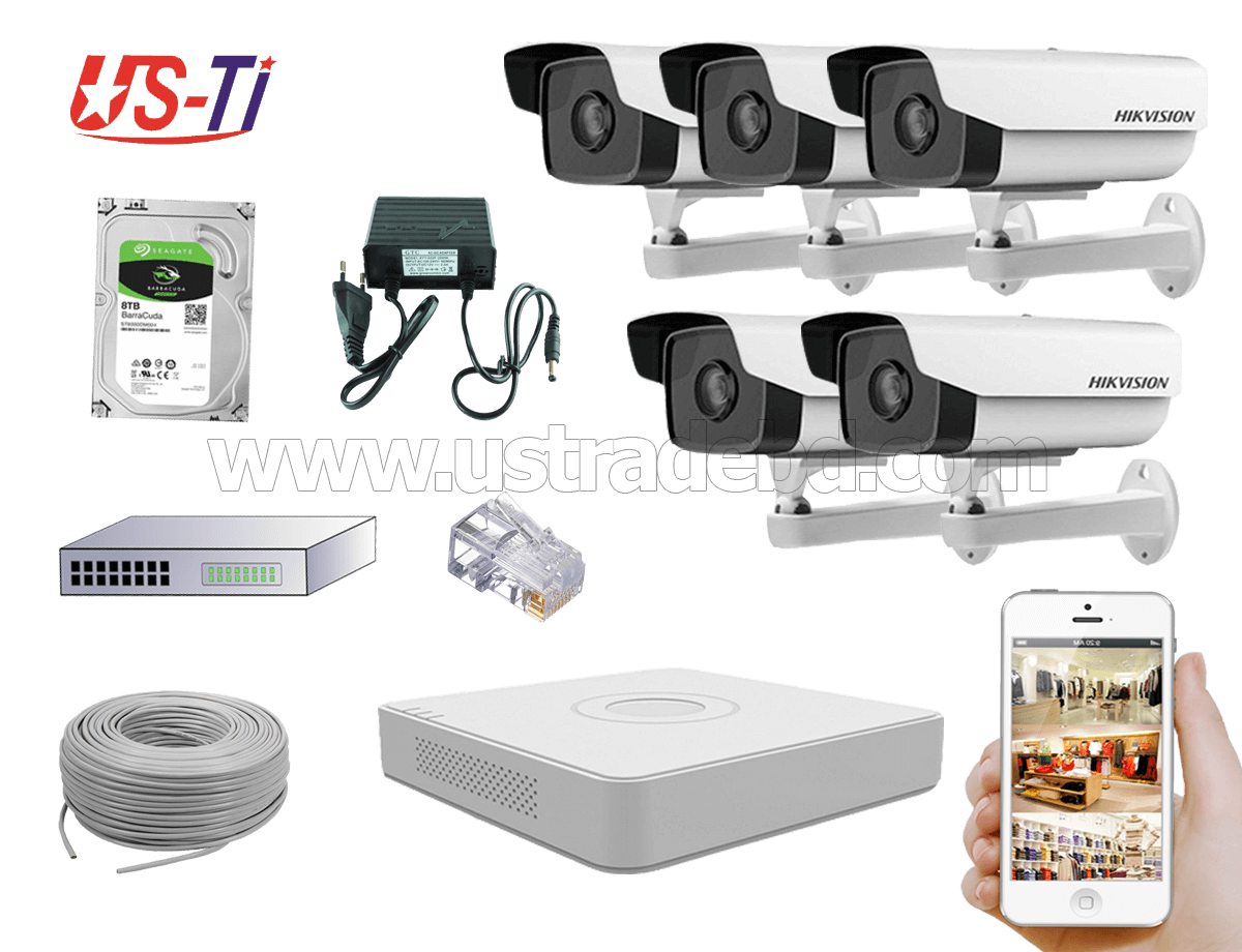 2MP IP Hikvision 5pc camera Package