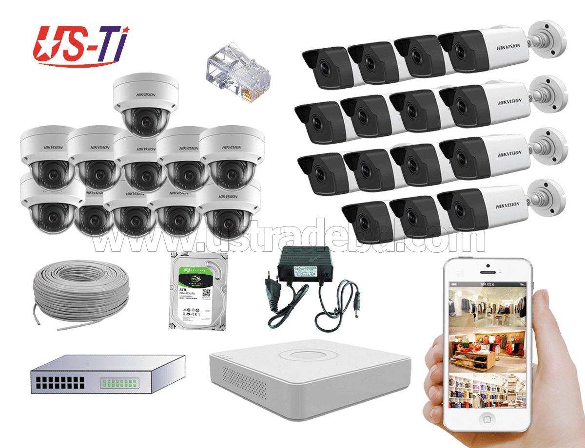 4MP IP Hikvision 26pc camera Package
