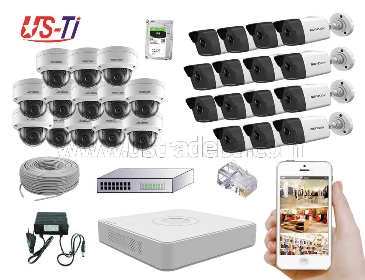 4MP IP Hikvision 28pc camera Package