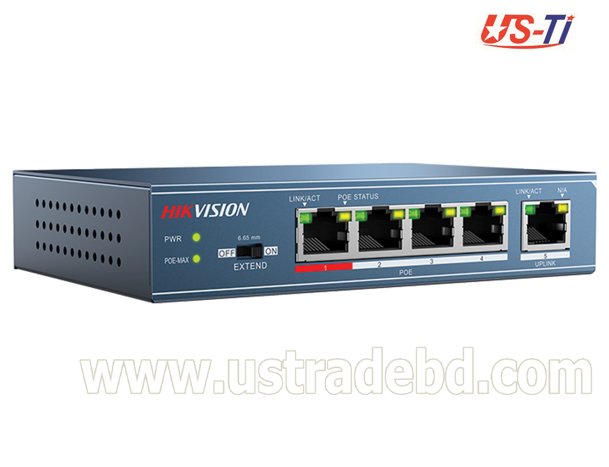 Hikvision DS-3E0105P-E/M(B) 4-Port 100 Mbps Long-Range Unmanaged PoE Switch