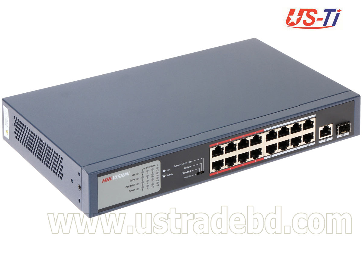 Hikvision DS-3E0318P-E/M(B) 16-Port 100 Mbps Long-Range Unmanaged PoE Switch