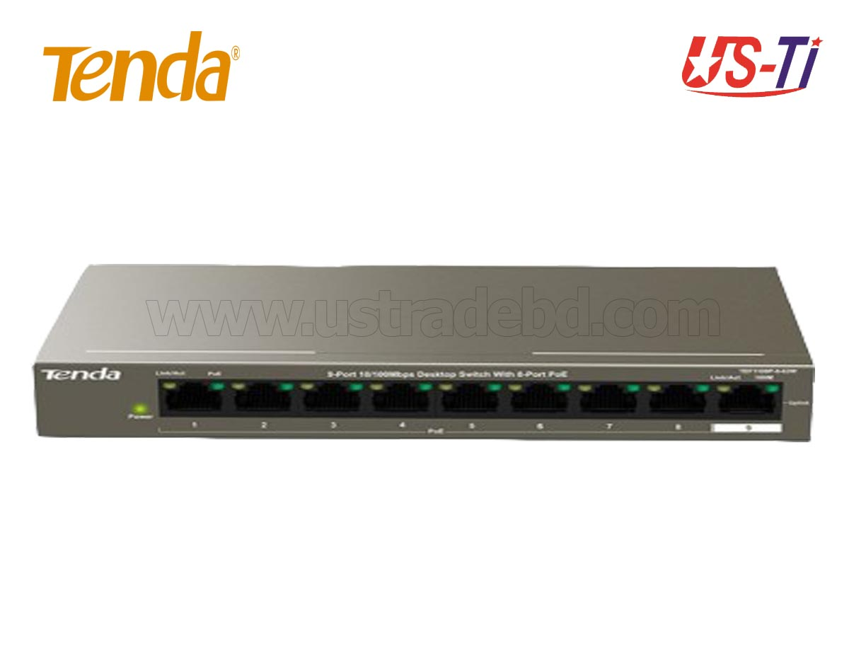 Tenda TEF1110P 8-Port 10/100 Mbps+2 Gigabit Desktop Switch
