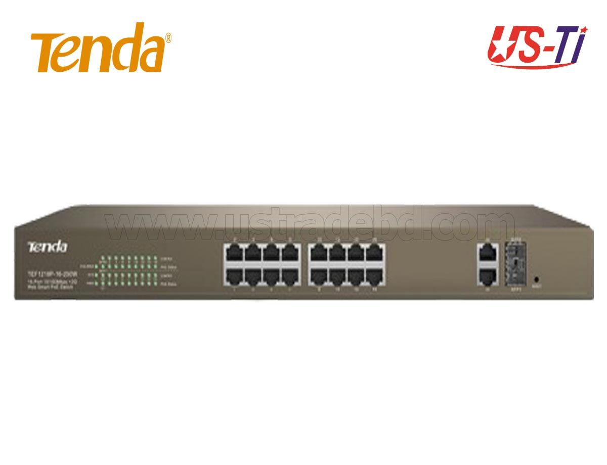 Tenda TEF1118P 16 10/100Mbps PoE +1 Gigabit/SFP Slots Switch
