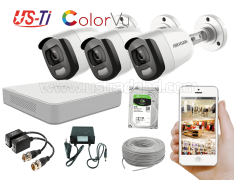 24 Hours Colour Hikvision 3pc camera Package