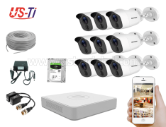 2MP Hikvision 9 Full HD Flash detection camera CCTV Package