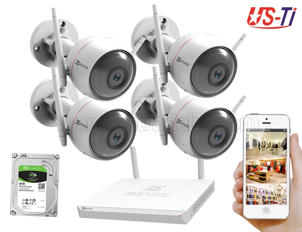 Wifi Outdoor 4pc Hikvision EZVIZ IP Camera Package
