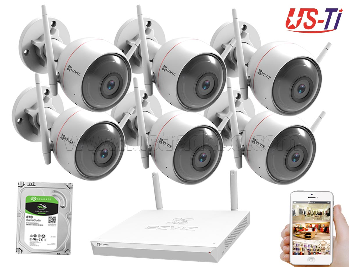 Wifi Outdoor 6pc Hikvision EZVIZ IP Camera Package
