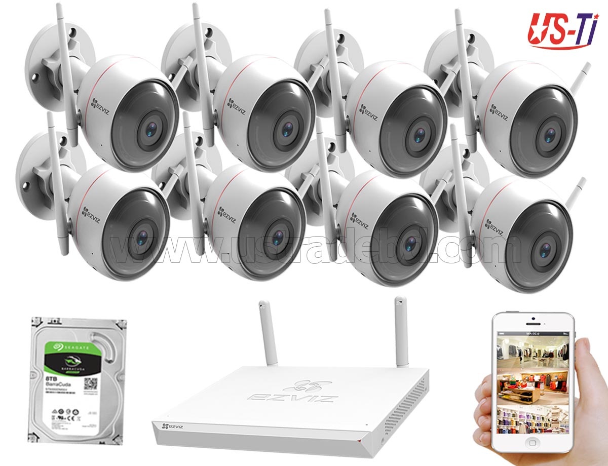 Wifi Outdoor 8pc Hikvision EZVIZ IP Camera Package